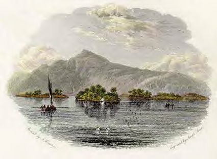 TARBET AND THE COBBLER LOCH LOMOND SUPERB QUALITY ANTIQUE MOUNTED CHROMO PRINT